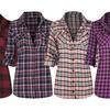 Women's Long Sleeve Button-Down Plaid Flannel Shirt