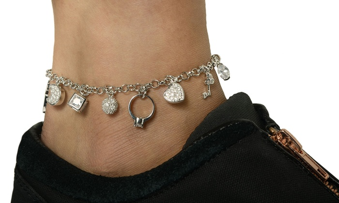 ankle stainless with on crystals product yellow gold plated chain charm steel anklet