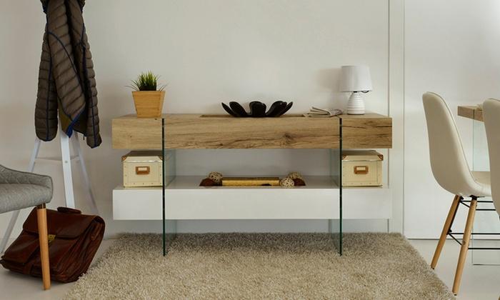 Consolle in legno e vetro groupon goods for Consolle in vetro