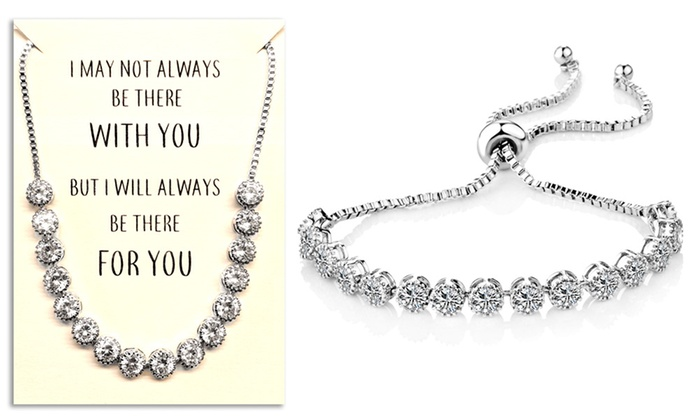 One or Two Philip Jones Crystal Friendship Quote Cubic Zirconia Bracelets from £10.99