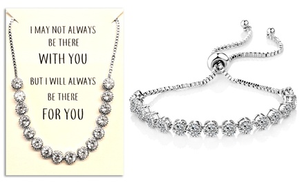 One or Two Philip Jones Crystal Friendship Quote Cubic Zirconia Bracelets