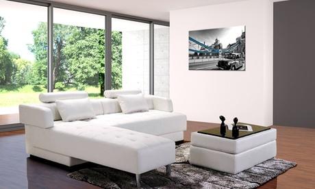 Divano letto modello Largo da 5 posti regolabile e con penisola. Vari colori disponibili