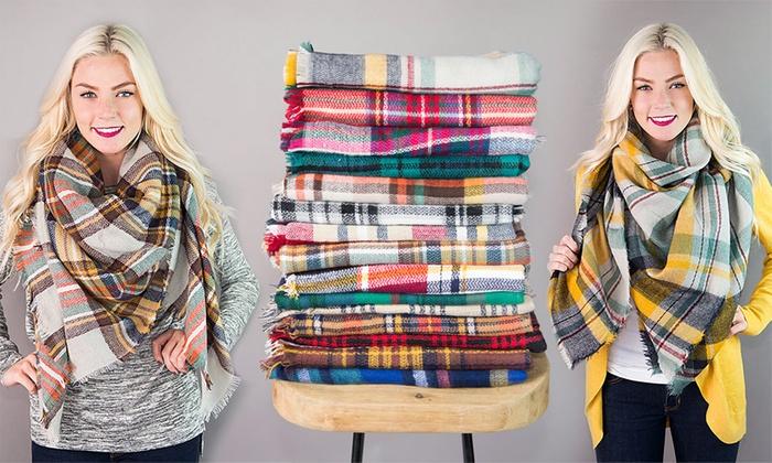 10b6ac419efba Cozy Plaid Blanket Scarf | Groupon Goods