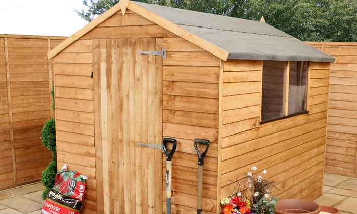 Groupon Goods Global GmbH: Overlap Apex Wooden Garden Shed From £179.99  With Free Delivery ...