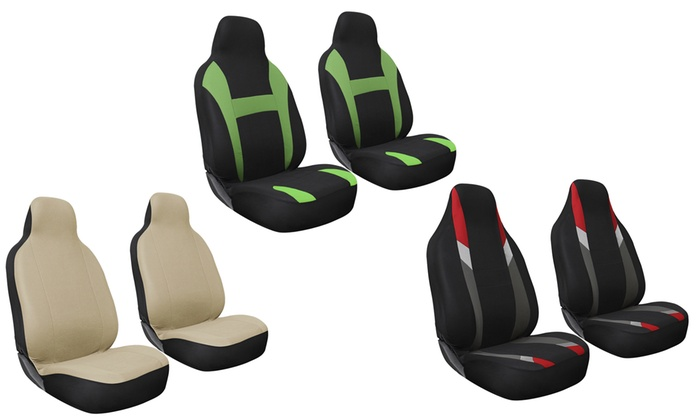 Fabric Front Bucket Car Seat Cover Set 2 Piece