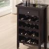 Dark-Brown Wood Modern Wine Cabinet