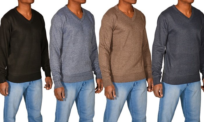 Men's Heathered V-Neck Sweater