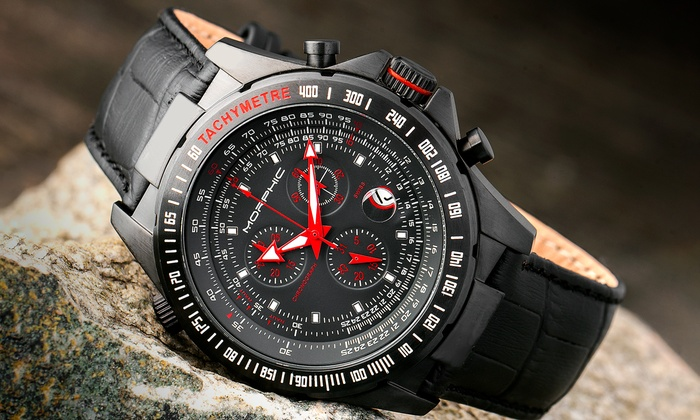 Morphic M36 Series Chronograph Genuine Leather Watch with Date Display With Free Delivery