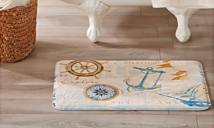 Eliza Marine-Printed Memory-Foam Anti-Fatigue Bath Mat | Groupon
