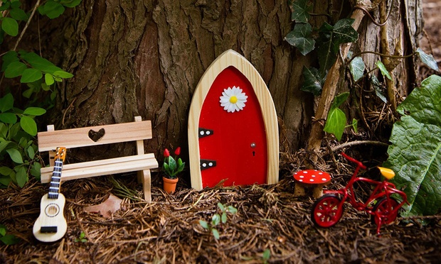 Wooden fairy door gift set groupon goods for Fairy door gift set