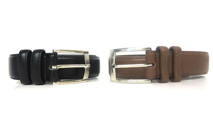 Men's Black & Brown Leather Dress Belts (2-Pack)