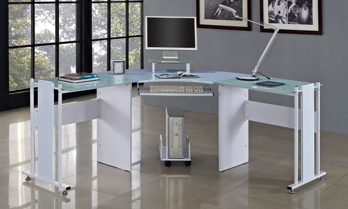 bureau ordinateur en verre blanc groupon. Black Bedroom Furniture Sets. Home Design Ideas