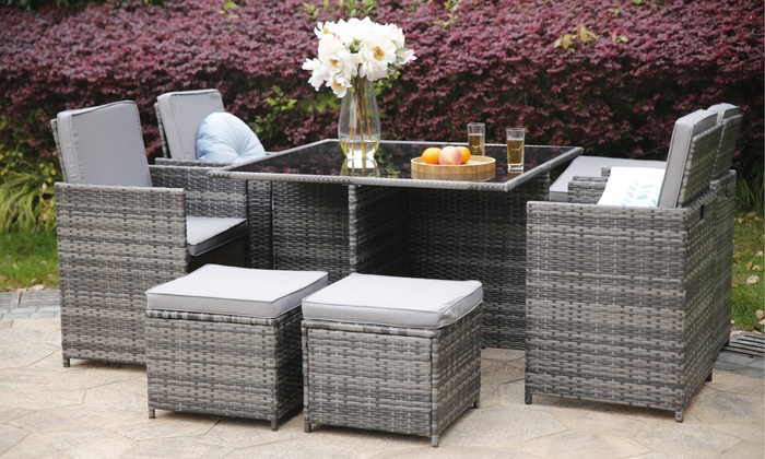 Yakoe Nine-Piece Eton Cube Rattan-Effect Outdoor Set with Optional Cover for £489.95