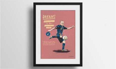 1 o 2 ilustraciones personalizadas del Mundial en marco de madera desde 34,95 € por Artista Gráfico Fer Taboada