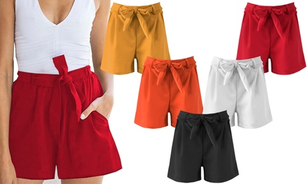 Womens Smart Belted Shorts