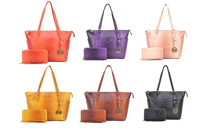 b3d867763e87 MK Belted Collection Faux-Ostrich Embossed Tote Handbag with Wallet ...