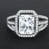 Triple Shank Radiant Radiant Halo Engagement Ring by Elements of Love