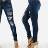 Women's Distressed Denim One-Button Skinny Jeans Junior Fit (size 13)