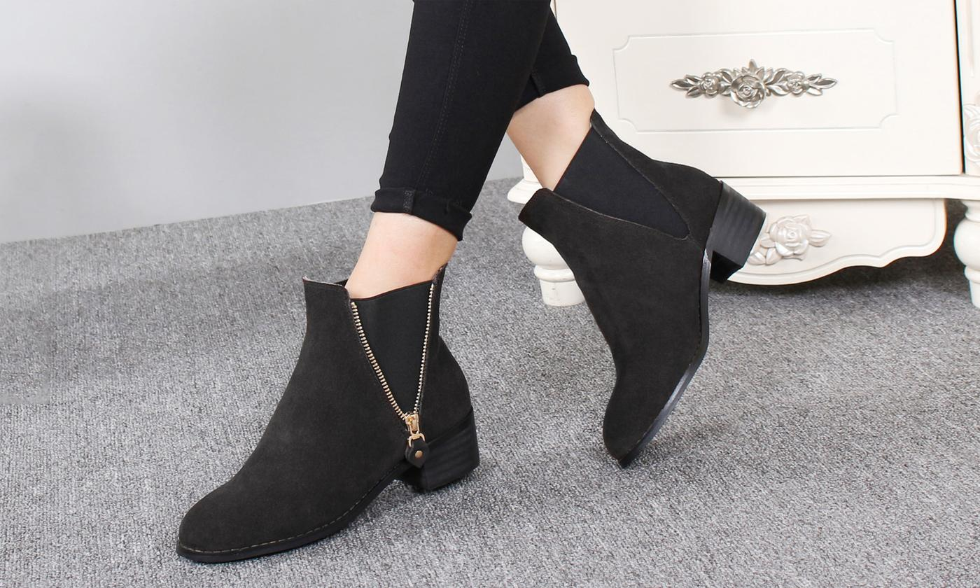 6945 Women's Merino Wool Ankle Boots with Zip Effect