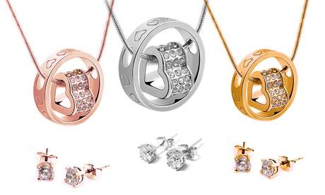 1 o 3 sets de colgante y pendientes adornados con cristales Swarovski®