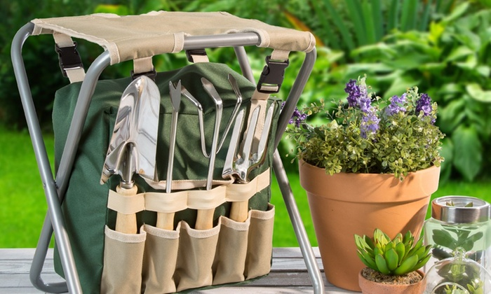 Stupendous Up To 51 Off On Folding Stool With Tool Set Groupon Goods Ncnpc Chair Design For Home Ncnpcorg