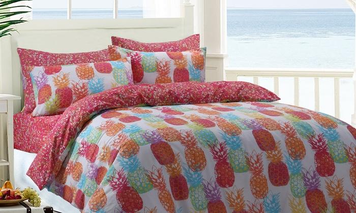 Flamingo Amp Pineapple Bedding Set Groupon