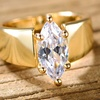 Cubic Zirconia Marquise Cut Ring in 18k Gold Plating by Barzel