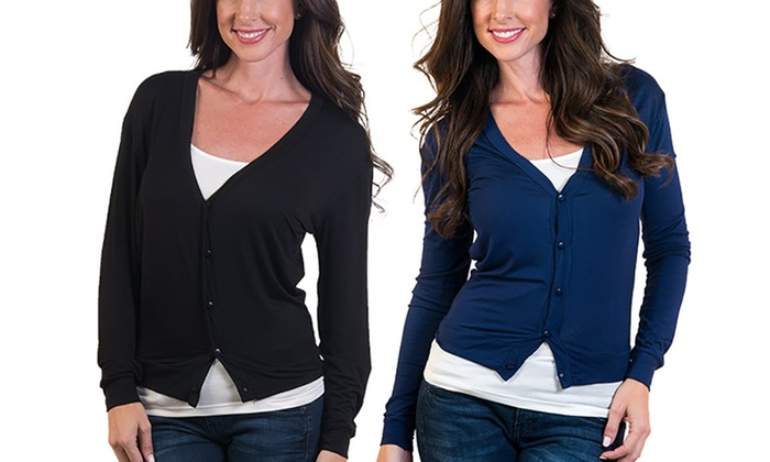 Women's Button-Front Cardigan (2-Pack) (Size L)