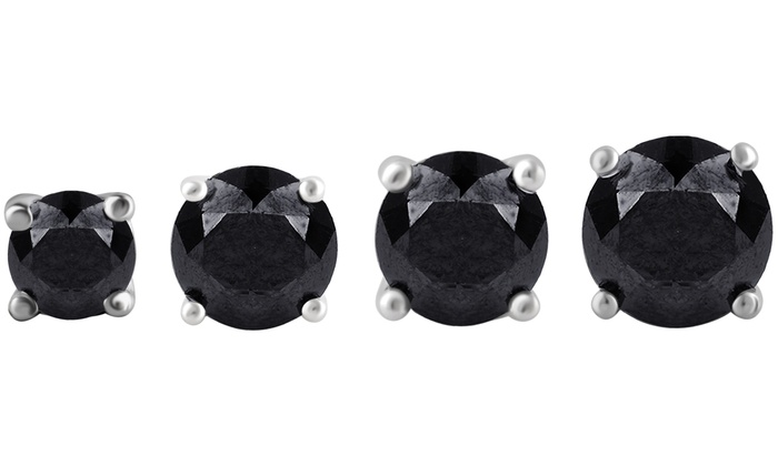 1 2 00 Cttw Black Diamond Stud Earrings In Sterling Silver