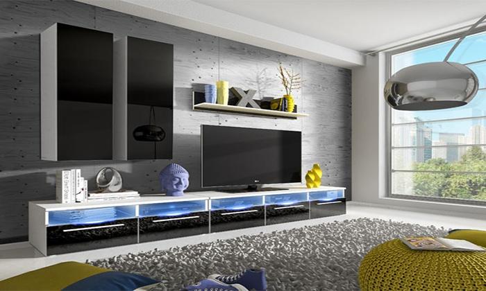 Muebles de sal n con luces led groupon goods for Muebles de salon con luz led