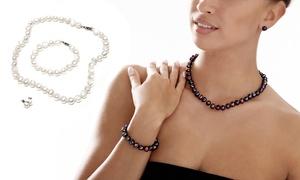 (Bijou)  Parure perles de culture d'eau  -88% réduction