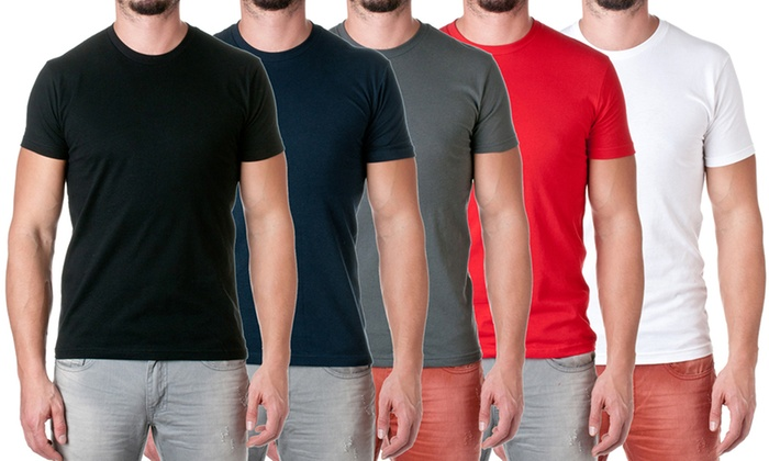 NLA Men's Cotton Fitted Crew-Neck Tees (5-Pack)
