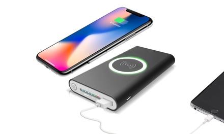 Batterie de chargement 2en1 portable sans fil induction Technologie Qi, et à la fois mode PowerBank 20 000 mAh, 2 ports