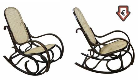 Sedia A Dondolo Con Schienale E Seduta In Bamb