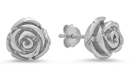 Rose Stud Earrings in Sterling Silver