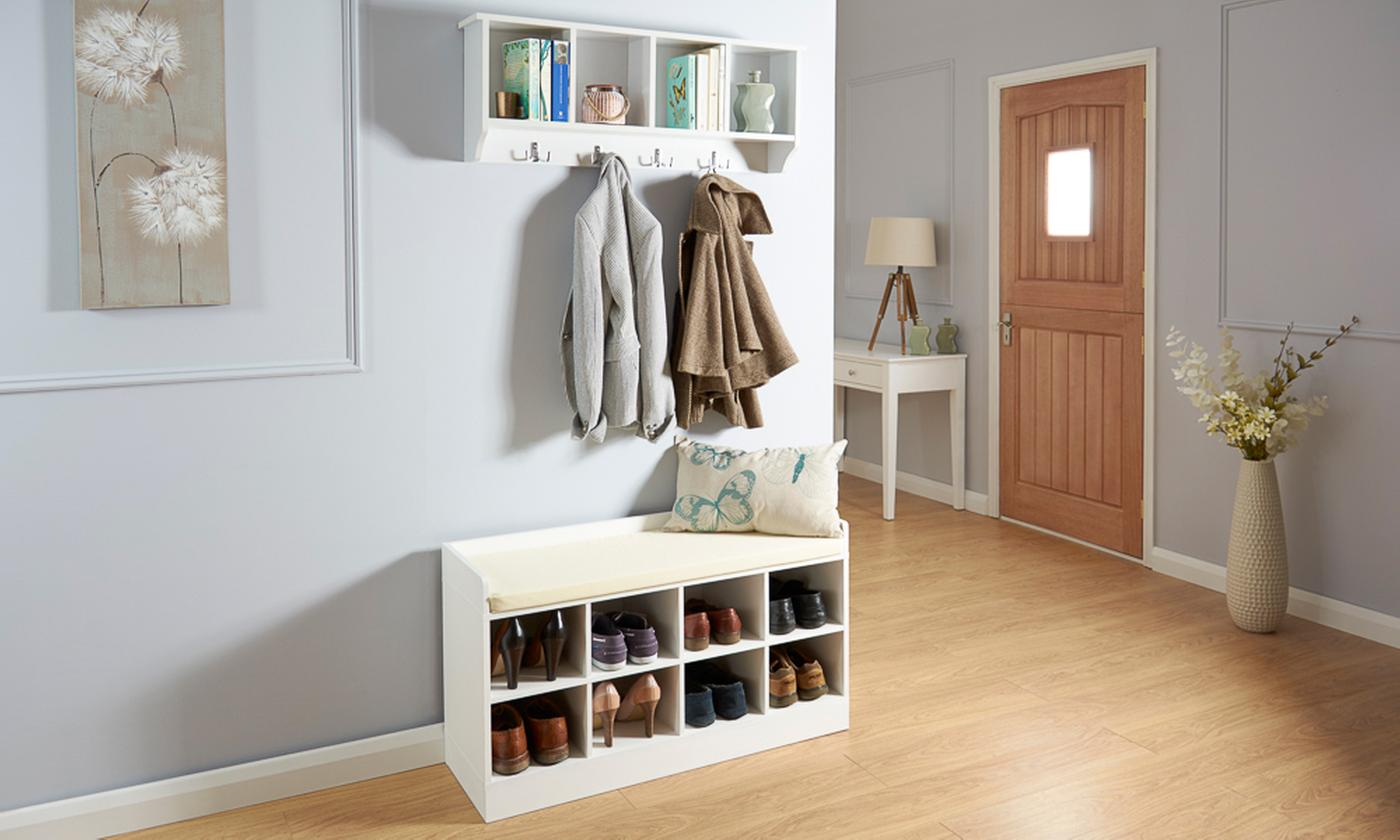 Hallway Wall Rack, Shoe Bench or Both in Choice of Colour
