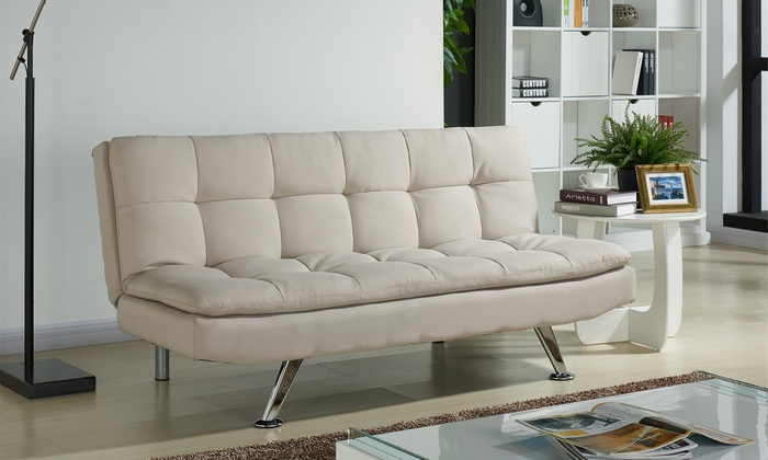 Valentia fabric sofa bed groupon goods for Sofa bed groupon