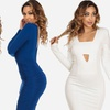 Women's Long-Sleeve Bodycon Midi Dress
