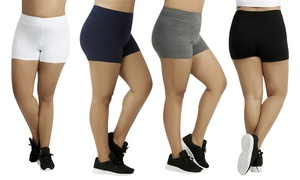 "Women's Plus-Size Cotton-Spandex 12"" Biker Shorts (3-Pack)"