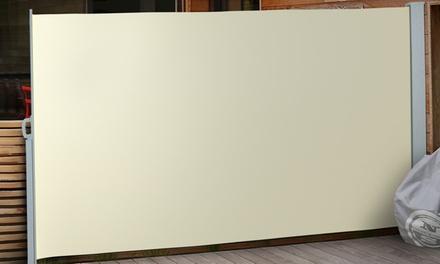 Seitenmarkise mit Aluminium-Rollhalterungen u. Eisen-Standfuß in der Farbe und Größe nach Wahl