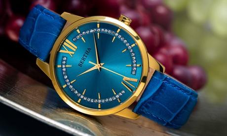 Reloj Bertha Prudence de cuero con cristales