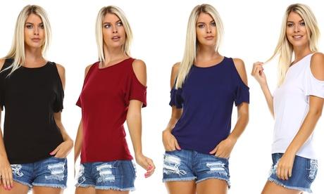 Isaac Liev Women's Open-Shoulder Short Sleeve Top
