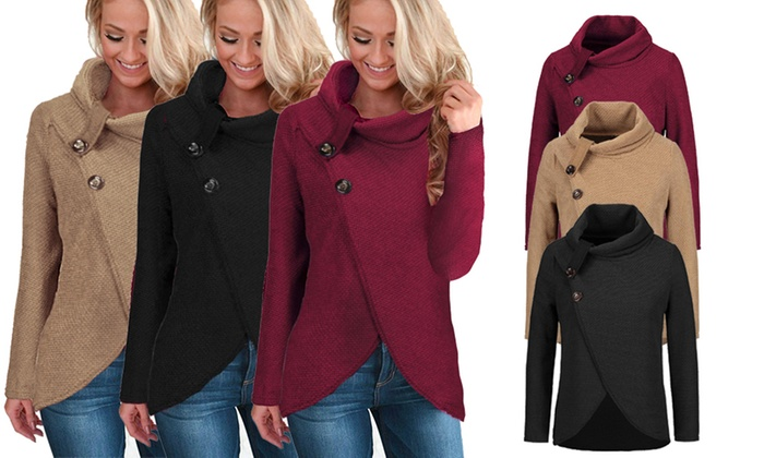 One or Two Women's Button Cowl Neck Jumpers from £15.98