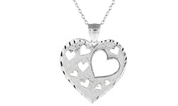 Valentine's Day Solid Sterling Silver Heart Necklace