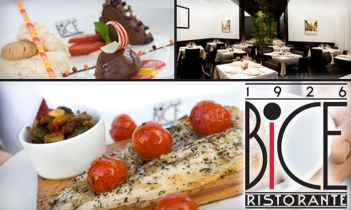 Bice - Gaslamp: $29 for $65 Worth of Contemporary Italian Cuisine at Bice