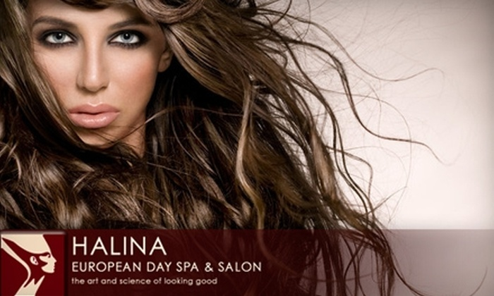 Halina's European Day Spa & Salon - Cat Hollow: $95 for Haircut, Partial Highlights, and Gloss Treatment at Halina's European Day Spa & Salon in Round Rock (Up to $200 Value)