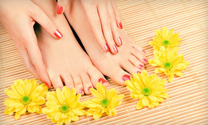 Kathrynz Kreationz - Middletown: Organic Mani-Pedi with Option for One-Hour Massage, or Set of LCN Sculptured Nails at Kathrynz Kreationz (Up to 51% Off)