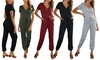 Women's Drawstring V-Neck Romper Jumpsuit