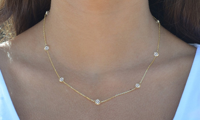 Up To 86 Off On Cubic Zirconia Station Necklace Groupon