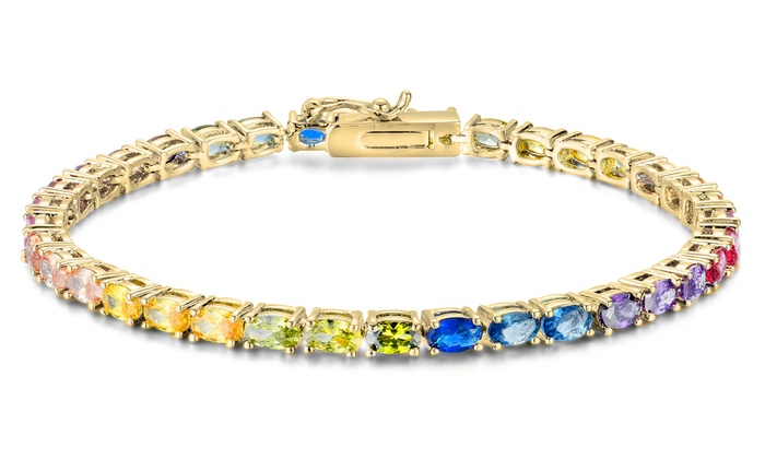 d87f604ea 14K Gold Plated Swarovski Elements Crystal Rainbow Tennis Bracelet
